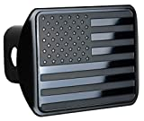 """eVerHITCH USA US American Stainless Steel Flag Metal Emblem on Metal Trailer Hitch Cover (Fits 2"""" Receivers, Black)"""