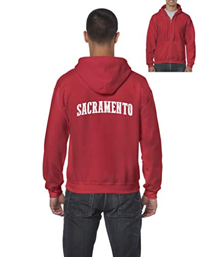 Sacramento City California Traveler Gift Men's Full-Zip Hooded (3XLR) Red]()