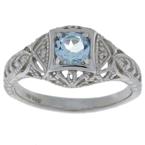 Elizabeth Jewelry Genuine Aquamarine & Diamond Round Ring .925 Sterling Silver Rhodium - Round Ring Tanzanite Diamond