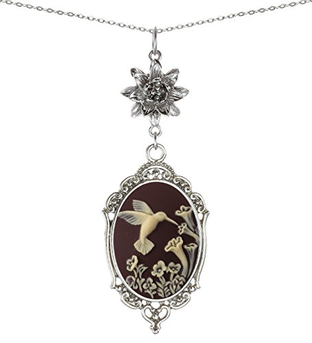 Yspace Lotus Charm Necklace Antique Decor Cameo Pendant 2 Chains Velvet Pouch for Gift (Hummingbird)