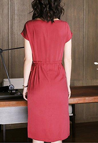 Übergröße Seide S2710 Kleider Gestreift Damen E Rot Abendkleid girl Cocktail Kleid Midi TY5w101q