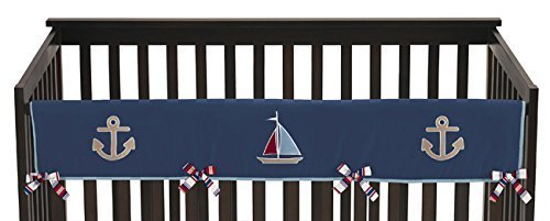 Sweet Jojo Designs Nautical Nights Sail Boat Long Front Rail Guard Baby Boy Teething Cover Protector Crib Wrap by Sweet Jojo Designs