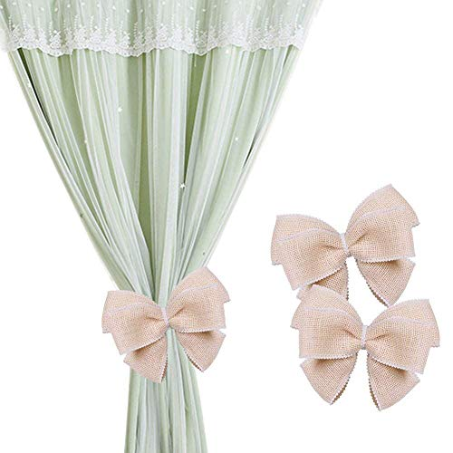 Magnetic Pearl - ZILucky 2 Pieces Big Bow-Knot Magnetic Window Curtain Tiebacks Rope Pearl Beads Bow Drape Tie Band Drapery Holder Holdbacks Wedding Room Décor