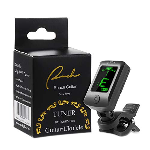 Ranch Clip-On Tuner Specialized for Ukulele and Guitar Beginner Standard Tuning - Classic Black