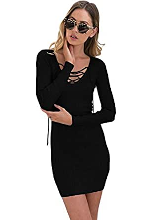 OUR WINGS Women Black Lace Up V Neck Long Sleeve Rib Knit Dress
