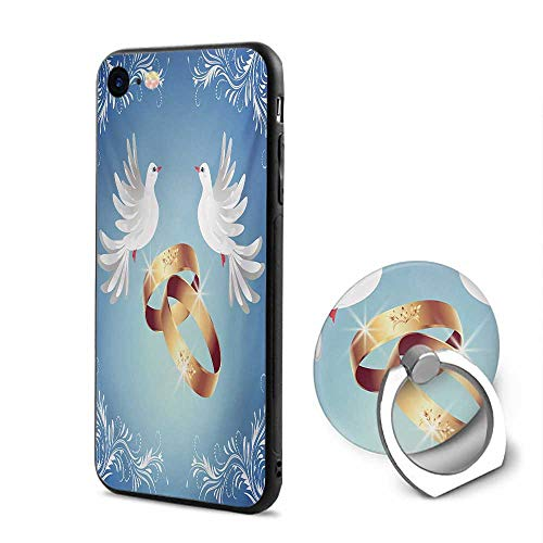 (Wedding iPhone 6/iPhone 6s Cases,Celebration Design with Floral Ornaments Two White Birds and Rings Blue White Pale Caramel,Mobile Phone Shell Ring)