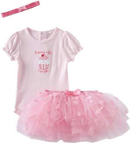 BabyGear Baby-Girls 3 Piece Tutu and headband Mommy?s Little Cupcake Bodysuit, Pink, 3-6 Months