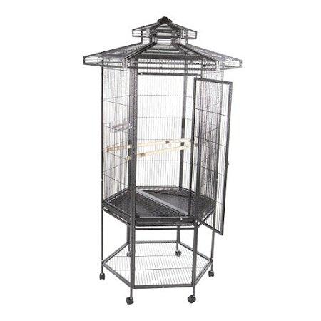 Hexagonal Aviary Bird Cage with Pagoda Top Color: Black ()