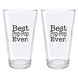 Christmas Gifts for Pop-Pop Best Pop-Pop Ever Fathers Day Gifts for Pop-Pop Gift Pint Glasses 2-Pack Pint Glass Set Clear