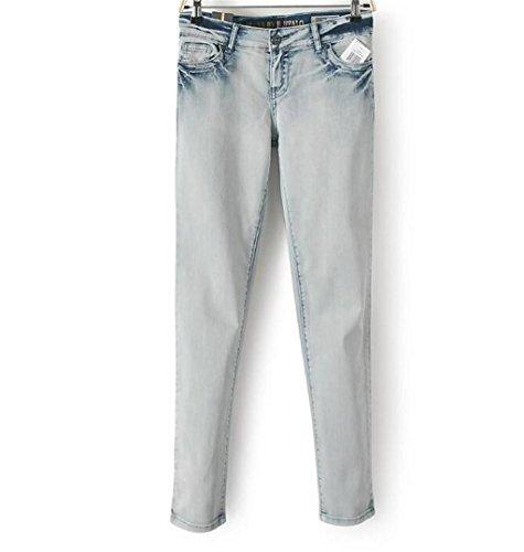 Byjia Luz Destruido Relajado Ajuste Potencia De Pierna Recta Con Curvas De Mediana Altura De Entrepierna Cremallera Larga Botón Jeans Pantalones De Las Mujeres Denim Azul