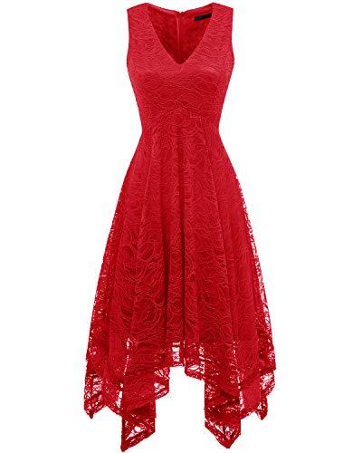 Bridesmay Women's Elegant V-Neck Sleeveless Asymmetrical Handkerchief Hem Floral Lace Cocktail Party Dress Red S