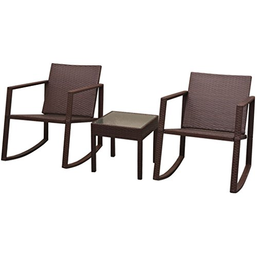 Daonanba Comfortable Outdoor Rocking Chair and Table Set Garden Dining Sets Outdoor Furniture Set 3 Pcs Polly Rattan Brown