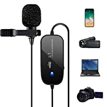 Rechargeable Lavalier Microphone, Champhox MK01 with Indicator Light Professional Hands Free Clip-on Lapel Omni Condenser Mic for Canon Sony DSLR Camcorder/Recording Youtube/Interview/Vlogging/Video Conference/Studio Live Podcast/Voice Dictation/iPhone/ASMR/Computer/Laptop/Android/Skype (236 in/20ft)