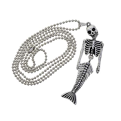MagiDeal Halloween Alloy Beaded Chain Necklace with Mermaid Skeleton Pendant Charms Fashion Jewelry Men Women Necklace Tibetan Silver -