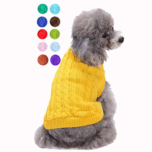 Bwealthest Small Dog Sweater  Warm Puppy Sweater Cute Knitted Classic Dog Coat Doggie Unisex Sweater Clothes Pet Dog Sweatshirt ApparelSuitable for 15lb  18lb Medium Yellow