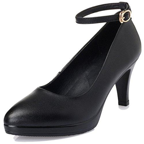 Dames 2 WKNBEU De Prom Chaussures Chaussures Party Bout Black Cuir Rond Femmes De Court Mariée High Cuir Mariage 36 Heels Stiletto en Noir en rqrOB