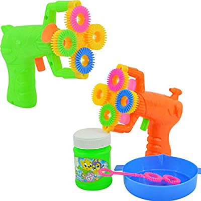 Mggsndi Bubble Machine - 4 Hole Automatic Bubble Maker Bubble Blower Fan Machine, Bubble Blaster Toy for Toddlers, Kids, Parties, Activity Game Random Color: Toys & Games