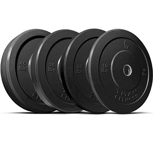 Titan 230 lb Set of Olympic Bumper Plates Benchpress Strength Training Power - Black by Titan Fitness
