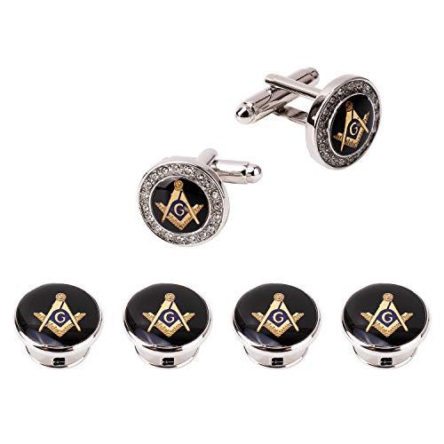 GESDY Crystal Freemason Cufflinks and Tuxedo Shirt Studs Formal Masonic Cuff Links Studs (Silver) ()