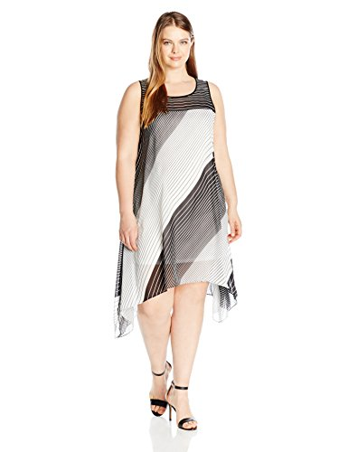 Robbie-Bee-Womens-Plus-Size-Stripped-Chiffon-Trapzez-Dress-with-Illusion-Neck