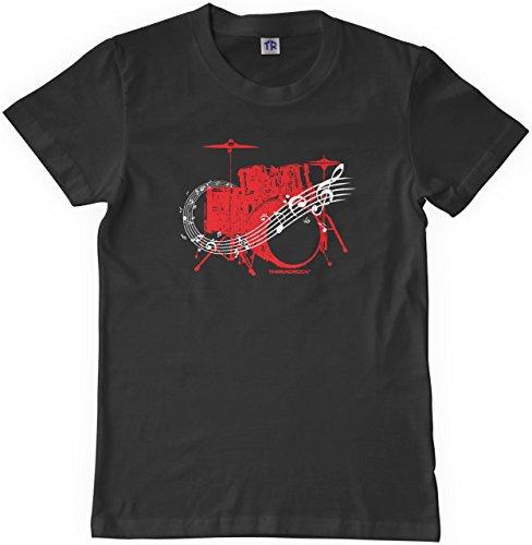 Drum Kit T-shirt (Threadrock Big Boys' Drum Kit Youth T-shirt XS Black)