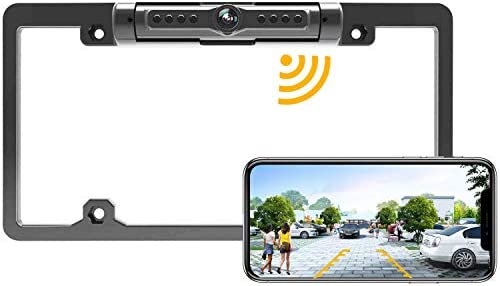 License Plate Wireless Backup Camera, WiFi Rear View Camera, LASTBUS 170 View Angle Universal IP69 Waterproof Car License Plate Frame Camera for Cars RV Box Truck SUV Pick Up Truck Van