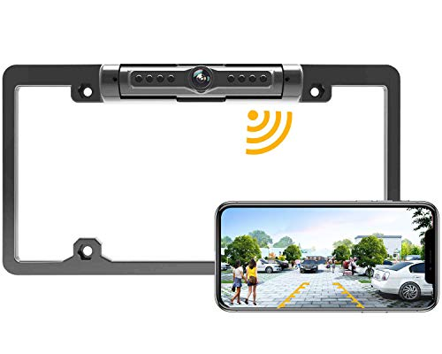 License Plate Wireless Backup Camera, WiFi Rear View Camera, LASTBUS 170° View Angle Universal IP69 Waterproof Car License Plate Frame Camera for Cars RV Box Truck SUV Pick Up Truck Van