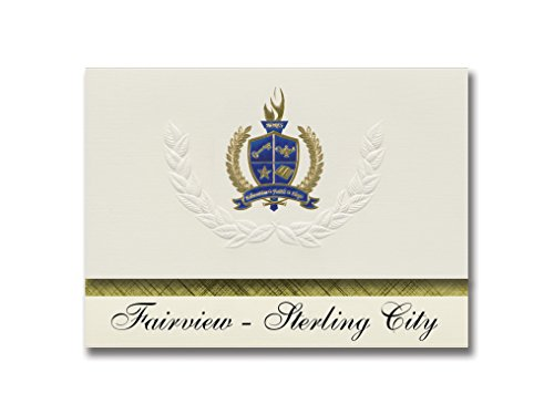 Signature Announcements Fairview - Sterling City (San Angelo, TX) Graduation Announcements, Presidential style, Elite package of 25 with Gold & Blue Metallic Foil seal -