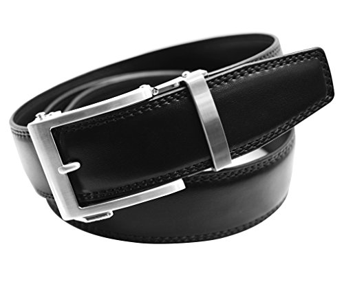 Classic Men's Leather Ratchet Click Belt - Brushed Silver Buckle w/ Double Stitched Black Leather Belt (Trim to Fit: Up to 35'' Waist)