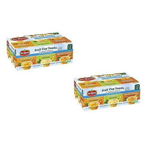 Del Monte No Sugar Added Variety Fruit Cups 12 ct (2 Box (12 Counts))