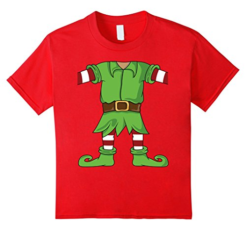 Kids Christmas Elf Costume - Funny Santa's Elf T-Shirt for Xmas 10 Red