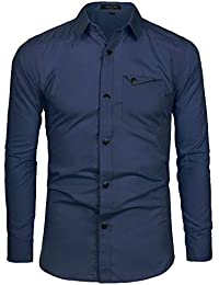 Long Sleeve Dress Shirt Casual Solid Color Button Down Slim Fit Military Shirts with Pocket