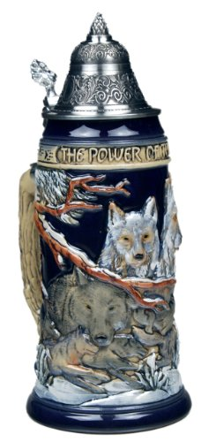 Beer Steins by King - Power of the Pack Wolf German Beer Stein (Beer Mug) 0.75l Limited Edition by KING