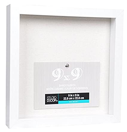 Amazon.com - 9 x 9 Bright White Shadow Box Display Case Heavy Wood ...