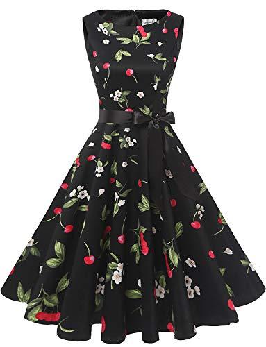 Gardenwed Women's Audrey Hepburn Rockabilly Vintage Dress 1950s Retro Cocktail Swing Party Dress Black Small Cherry M