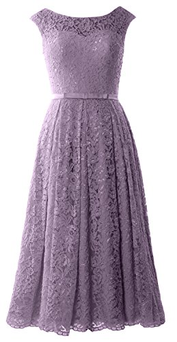 MACloth Caps Sleeve Lace Cocktail Dress Tea Length Wedding Party Formal Gown Wisteria