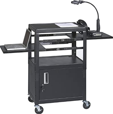 Balt Dual Adjustable Height Laptop Cart with 2 Pull-Out Shelves and a Locking Cabinet