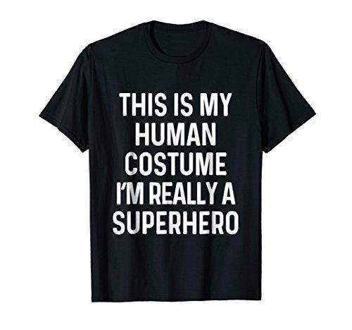 Mens Funny Superhero Costume Shirt Halloween Kids Adult Men Women 2XL Black -