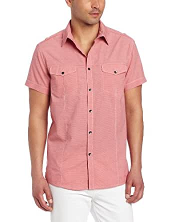 Kenneth Cole New York Men's Military Stripe Shirt, Coral Red Combo, XX-Large