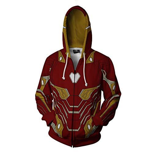 WKDFOREVER 3D Captain Fashion Cosplay Hoodie Jacket Costume (Large, Iron Man 2)]()