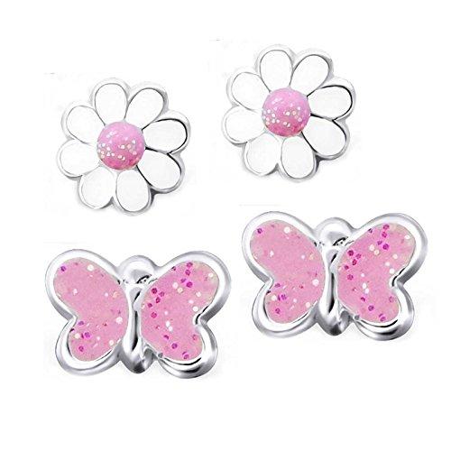 SL de Silver 2pares pendientes flor y mariposas brillo 925plata en caja de regalo