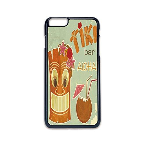 - Phone Case Compatible with iPhone6 Plus iPhone6s Plus 2D Print Black Edge,Tiki Bar Decor,Invitation to Tiki Bar Old Fashion Display Coconut Drink Mask Flowers Print Decorative,Multicolor,Hard Plastic