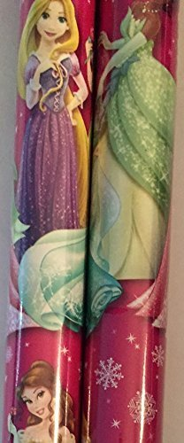 2 Rolls Girls Licensed ~ Christmas Wrapping Paper (Pink Princess) by - Mall Greenbrier