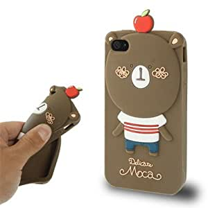 DapurMu - Hello Geeks Carton Series Lovely Bear Pattern Silicon Case for iPhone 4 & 4S (Coffee)