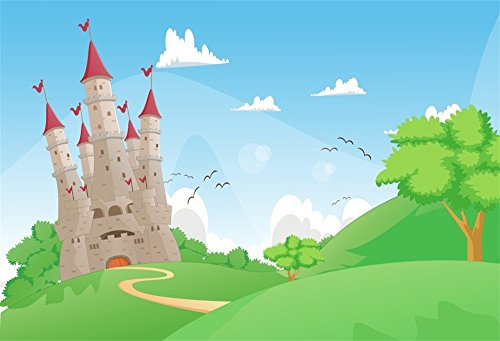 LFEEY 10x8ft Cartoon Castle Backdrop for Photos Outdoor Lawn Blue Sky White Clouds Tower Photo Background for Kids Children Birthday Party Decoration Wallpaper