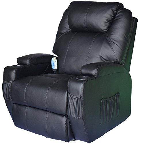 HomCom Heating Vibrating PU Leather Massage Recliner Chair - Black - Black Leather Recliner Rocker