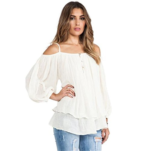 HN Women Spaghetti Strap Blouse Off Shoulder Casual Shirt Tops On Sale