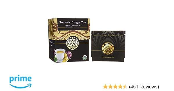 Organic Turmeric Ginger Tea, 18 Bleach Free Tea Bags – Caffeine Free,  Antioxidant, Antiviral, and