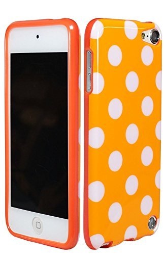 EEA Silicone TPU Polka Dot Case Cover Skin for iPod Touch 5 5th Generation (Orange) (5 Dot Touch Ipod Polka)