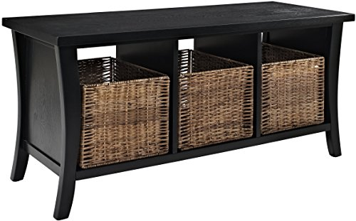 Crosley Furniture Wallis Entryway Storage Bench - Black (Wicker Storage Baskets Bench)